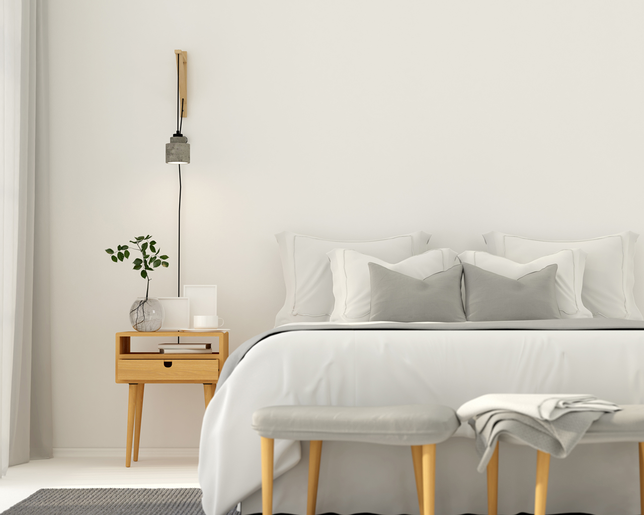 Modern light gray bedroom interior